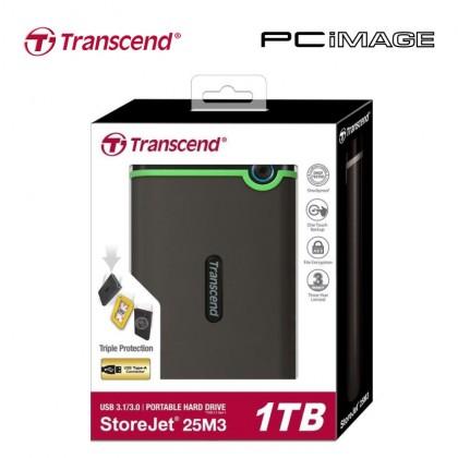 TRANSCEND STOREJET 25M3 USB 3.0 PORTABLE HARD DRIVE 1TB