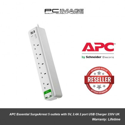 APC Essential SurgeArrest 5 outlets with 5V, 2.4A 2 port USB Charger 230V UK PM5U-UK