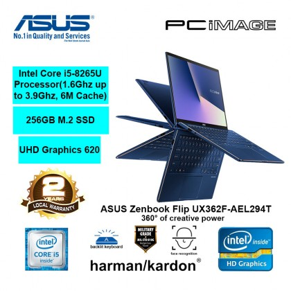 "ASUS Zenbook Flip UX362F-AEL294T 13.3"" Touch Laptop-Royal Blue (i5-8265U, 8GB, 256GB, Win10)"