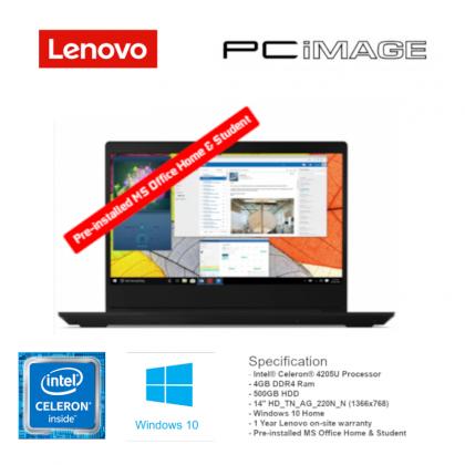 "LENOVO IDEAPAD S145-14IWL INTEL CELERON 4205U/14"" HD/4GB/500GB/W10/CARRY CASE/1YR WRT/MS OFFICE H&S BLACK NOTEBOOK - 81MU00HFMJ"