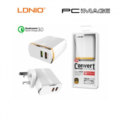 LDNIO A2502Q USB 1 PORT + 1 QC 3.0 CHARGER WITH 100CM MICRO USB CABLE 30W