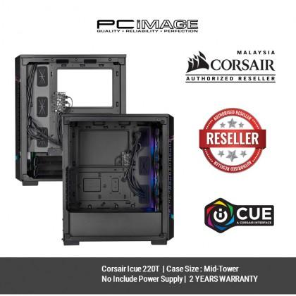 CORSAIR ICUE 220T RGB AIRFLOW TG MID-TOWER CASE - CC-9011173-WW - BLACK / CC-9011174-WW - WHITE