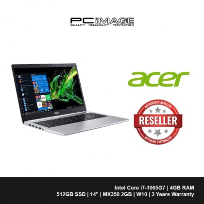 """ACER Aspire 5 A514-53G-74VJ 14"""" Laptop/Notebook - Pure Silver (i7-1065G7, 4GB, 512GB, MX350, Win10)"""