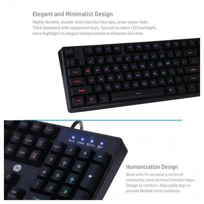 HP K300 Keyboard LED Light Backlit Wired USB Gaming Keyboard Black Colorful Backlight (Black)