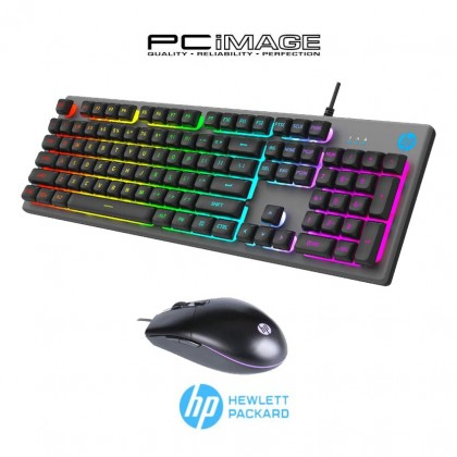 HP KM300F Wired Gaming Keyboard And Mouse Combo Set Metal Panel (Gun colour + Black)