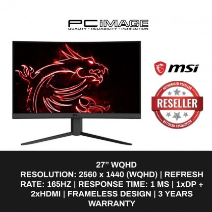 "MSI Optix G27CQ4 27"" WQHD VA 165Hz 1ms Curved Gaming Monitor"