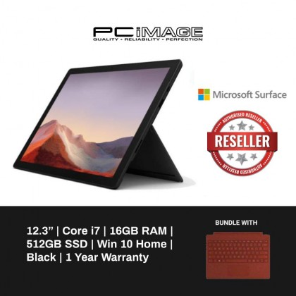 Microsoft Surface Pro 7 Core i7 / 16GB RAM / 512GB (Black) + FREE BUNDLE