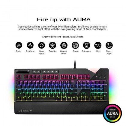 ASUS Gaming Keyboard ROG Strix Flare RGB mechanical with Cherry MX switches, customizable illuminated badge and dedicated media keys for gaming