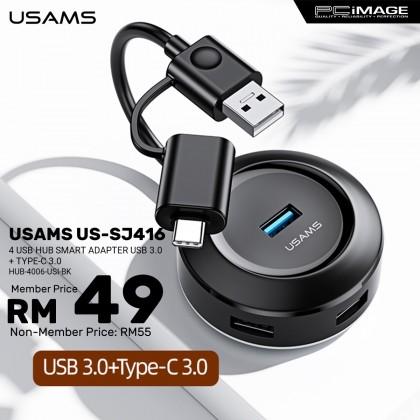 USAMS US-SJ416 4 Usb Hub Smart Adapter Usb 3.0 + Type-C 3.0 - Black
