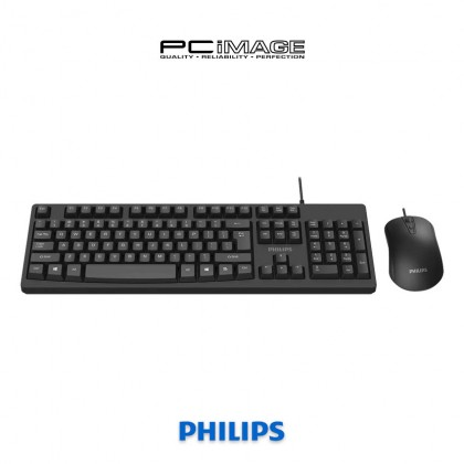 PHILIPS SPT6214 Wired Usb Mouse Keyboard Combo - Black