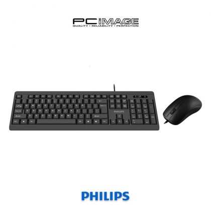 PHILIPS SPT6224 Wired Keaboard and Mouse Combo - Black