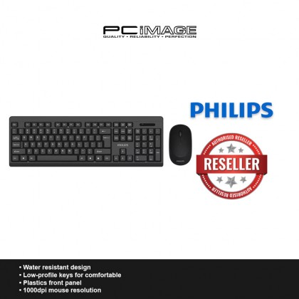 PHILIPS SPT6324 Wireless Keyboard Mouse Combo - Black