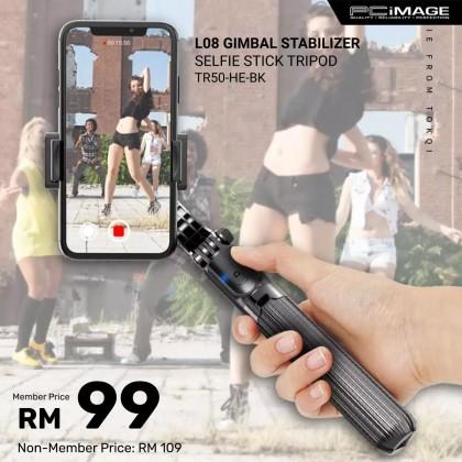 L08 Gimbal Stabilizer Anti-Shake Selfie Stick Bluetooth Remote Control Tripod - Black