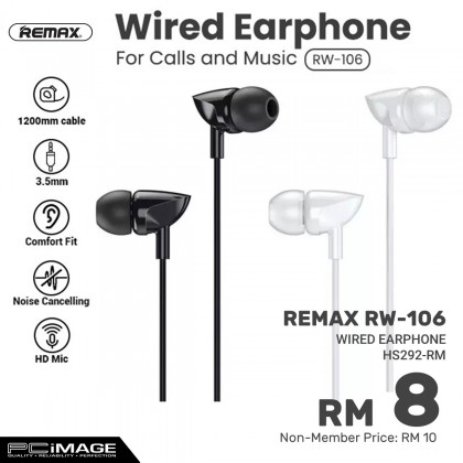 REMAX RW-106 HD Mic Wired In-Ear Earphone