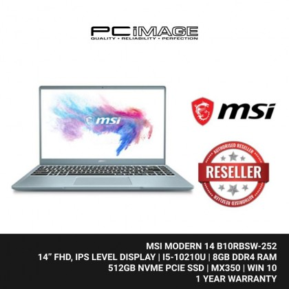 """MSI MODERN 14 B10RBSW-252 14"""" Laptop -  Bluestone (i5-10210U, 8GB, 512GB, Mx350, Win10)"""