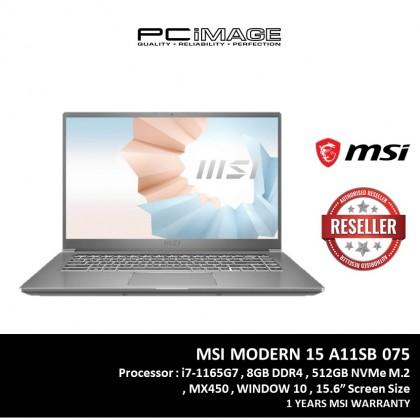 """MSI MODERN 15 A11SB-075 15.6"""" FHD LAPTOP CARBON GREY (I7-1165G7, 8GB, 512GB SSD, MX450 2GB, W10H)"""