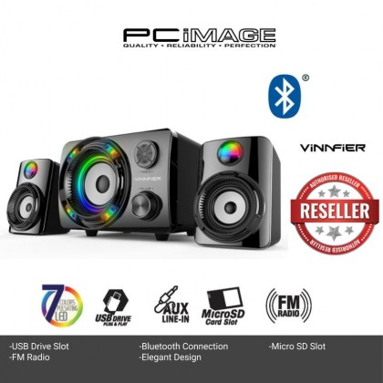 VINNFIER ECCO 3 BTR 2.1 Speaker System 7 Color Pulsating LED Lights with FM Radio Micro SD card and USB Slot