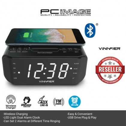 VINNFIER Neo Air 2 Wireless Charging Portable Bluetooth Speaker with Alarm Clock FM Radio and USB Slot