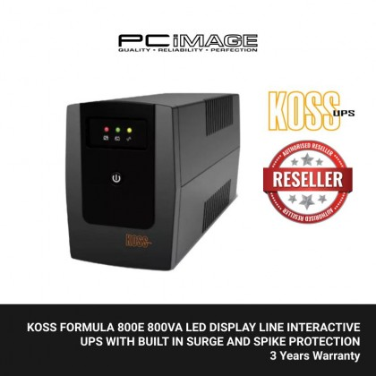 KOSS FORMULA 800E 800VA LED DISPLAY LINE INTERACTIVE UPS WITH BUILT IN SURGE AND SPIKE PROTECTION