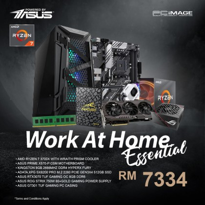 ASUS WORK AT HOME ESSENTIAL PC RYZEN 7 3700X PRIME X570-P CSM 8GB DDR4 2666Mhz 512GB SSD RTX3070 TUF 8GDDR5 TUF GT301 CASE STRIX 750W PSU