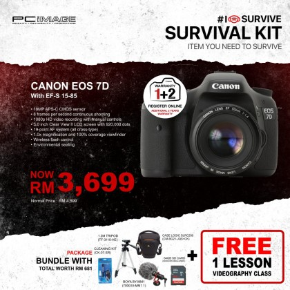 CANON EOS 7D (EF-S 15-85 MM F/3.5-F/5.6 IS USM KIT LENS) DIGITAL SLR CAMERA
