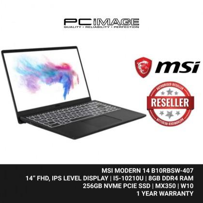 """MSI Modern 14 B10RBSW-407 14"""" Laptop - Carbon Grey (i5-10210U, 8GB, 256GB, MX350, Win10)"""