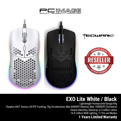 TECWARE EXO LITE GAMING MOUSE-BLACK - TWAC-EXLBK / WHITE - TWAC-EXLWH
