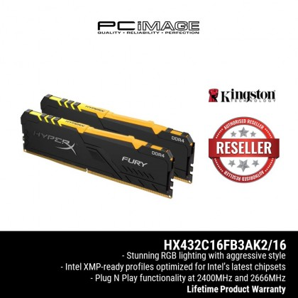 KINGSTON HYPERX FURY RGB 16GB 3200MHZ DDR4 CL16 DIMM (8GB x 2) HX432C16FB3AK2/16