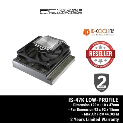 ID-COOLING IS-47K LOW-PROFILE CPU COOLER FOR PC BUILDS