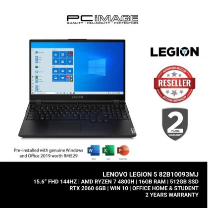 "LENOVO Legion 5 15ARH05H-82B10093MJ 15.6"" Gaming Laptop (R7-4800H, 16GB, 512GB, RTX2060, Win10, OfficeH&S)"