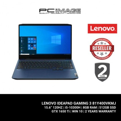 "LENOVO Ideapad Gaming 3i 15IMH05-81Y400VKMJ 15.6"" Gaming Laptop - Blue (i5-10300H, 8GB, 512GB, GTX1650Ti, Win10)"