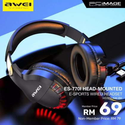 AWEI ES-770I E-Sports Head Mounted Wired Headset - Black