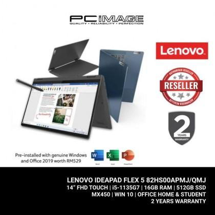 "LENOVO IdeaPad Flex5 14ITL05 82HS00APMJ/QMJ 14"" Multi Touch Laptop - Blue/Grey (i5-1135G7, 16GB, 512GB, MX450, Win10, OfficeH&S)"
