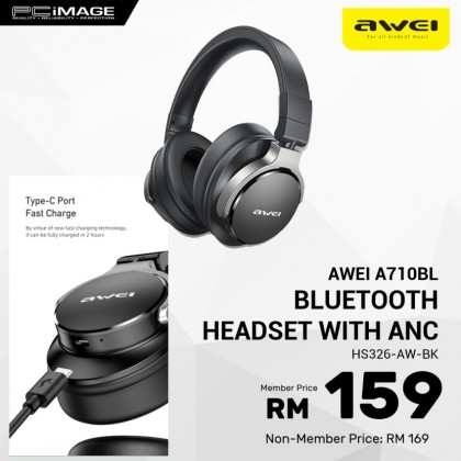 AWEI A710BL Bluetooth Headset with ANC Noise Cancelling Headphone - Black