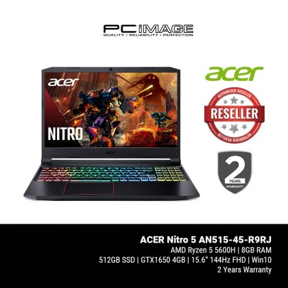 "ACER Nitro 5 AN515-45-R9RJ 15.6"" Gaming Laptop - Black (Ryzen5-5600H, 8GB, 512GB, GTX1650, Win10)"