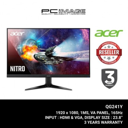 "Acer Nitro Gaming QG241YP 23.8"" Gaming Monitor (VA, 1920 x 1080, 1ms, 165Hz, Freesync, HDMI, DP)"