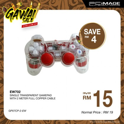 EW702 Single Transparent Gamepad 2 Meter Cable - Red