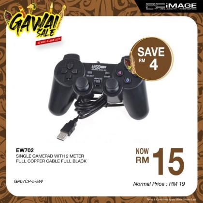 EW702 Single Gamepad 2 Meter Cable - Full Black
