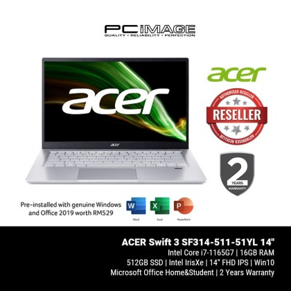 """ACER Swift 3 SF314-511-77XX 14"""" Laptop - Pure Silver (i7-1165G7, 16GB, 512GB, Intel, Win10, OfficeH&S)"""