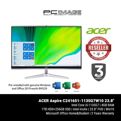 """ACER Aspire C241651-1135G7W10 23.8"""" AIO Desktop PC (i5-1135G7, 4GB, 256GB+1TB, Intel, Win10, OfficeH&S)"""