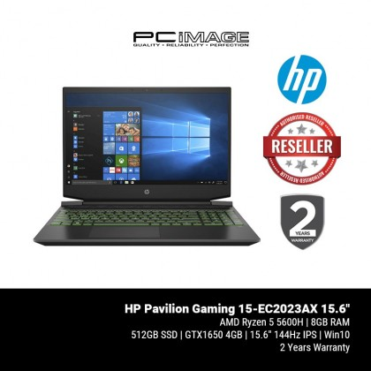 "HP Pavilion Gaming 15-EC2023AX 15.6"" Gaming Laptop - Acid Green (Ryzen5-5600H, 8GB, 512GB, GTX1650, Win10)"