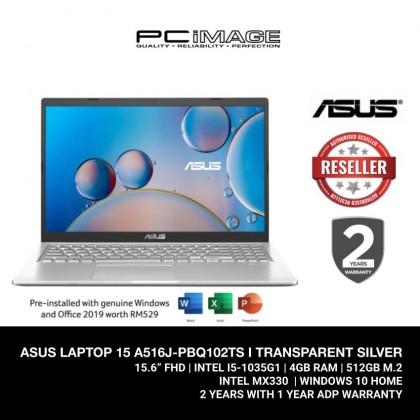 ASUS LAPTOP 15 (A516J-PBQ103TS / A516J-PBQ102TS) / I5-1035G1/ 4GB RAM / 512GB SSD/ MX330/ 2 Yrs Warranty
