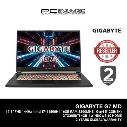 "[ PRE-ORDER ] GIGABYTE G7 MD (I7-11800H,16GB 3200MHz,GEN4 512GB,GTX 3050 Ti 4GB,17.3"" FHD 144Hz,W10) Gaming Laptop"